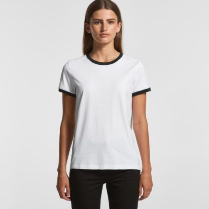 Cotton T-shirt with different colour around arms and neck