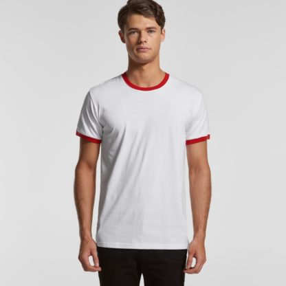 white tee with coloured line around neck and sleeves