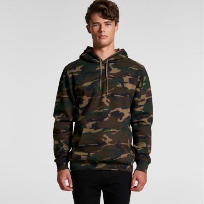 Camo pattern fleece hoodie