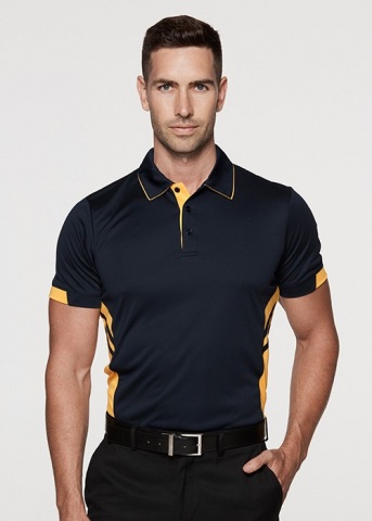 Polyester polo with colour stripes