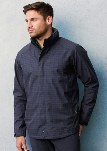 Waterproof jacket with little squares in fabric