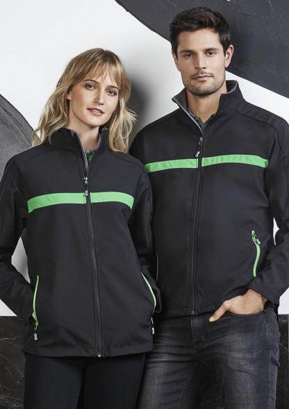 Softshell jacket with horizontal stripe