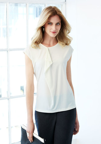Silky tee with frill down front