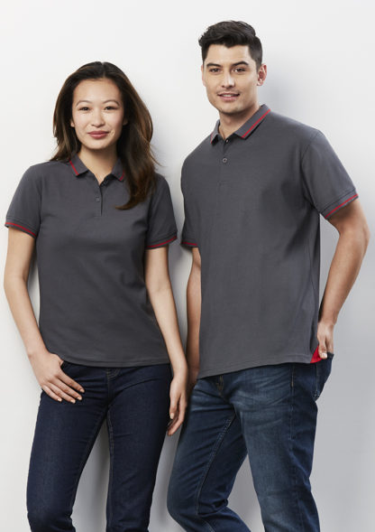 Poly/Cotton Polo with stripe collar and cuff