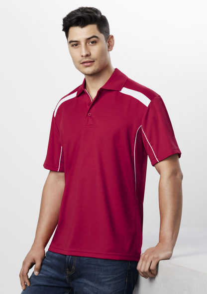 Polyester polo with lines down the side and top