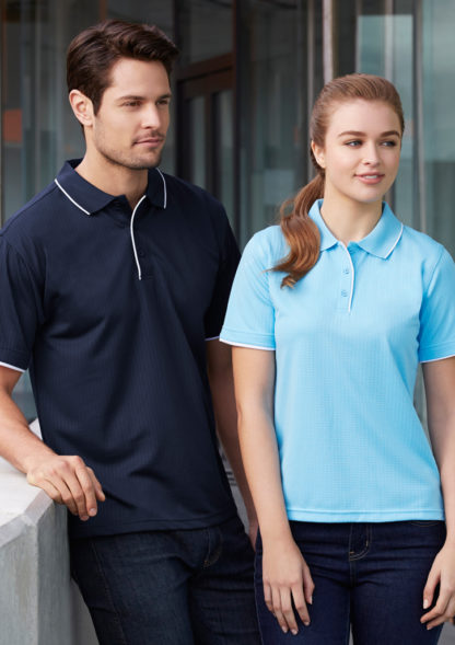 Polyester Polo with white trim around collar and button tab
