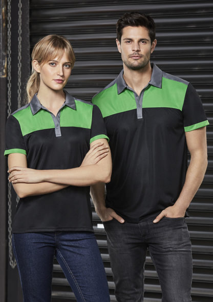 Polyester polo with stripe across chest