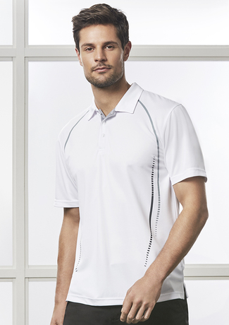 Polyester polo with dotted line down side