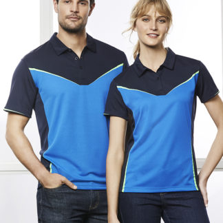 Polyester polo with V design on front