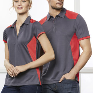 Polyester polo with patches on side