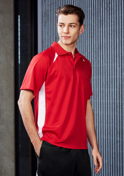 Polyester polo with triangle detail