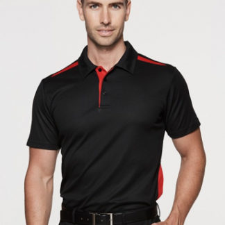 Cotton Back polo with strip on shoulder