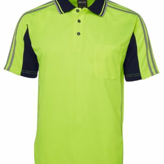 HIghvis polo with highvis stripes on shoulder
