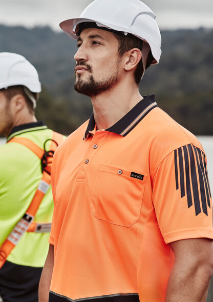Highvis shirt with black lines down sleeve