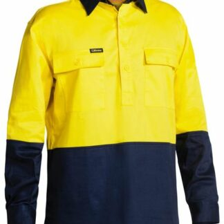 Bisley 2 tone long sleeve drill shirt