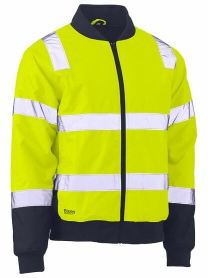 Bisley two tone hi vis bomber jacket with reflective tape
