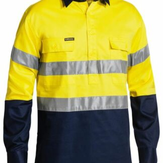 Bisley hi vis 2 tone Long sleeve drill shirt