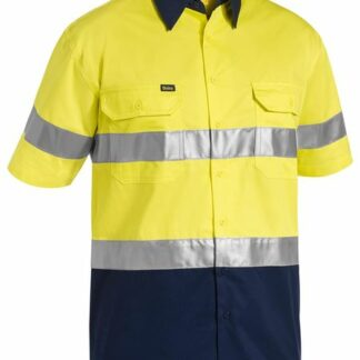 Bisley 2 tone lightweight hi vis shirt with reflective tape