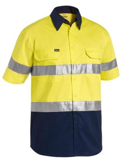Bisley 2 tone lightweight hi vis shirt with reflective tape